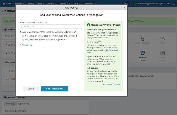 ManageWp - add site