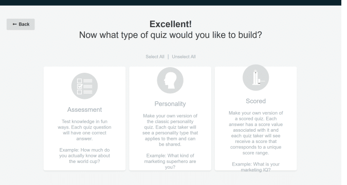 select lead generation quiz type
